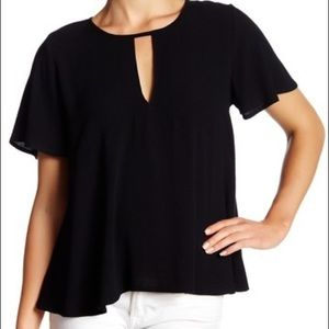 NEW Lush Flutter Sleeve Keyhole Black Top Small